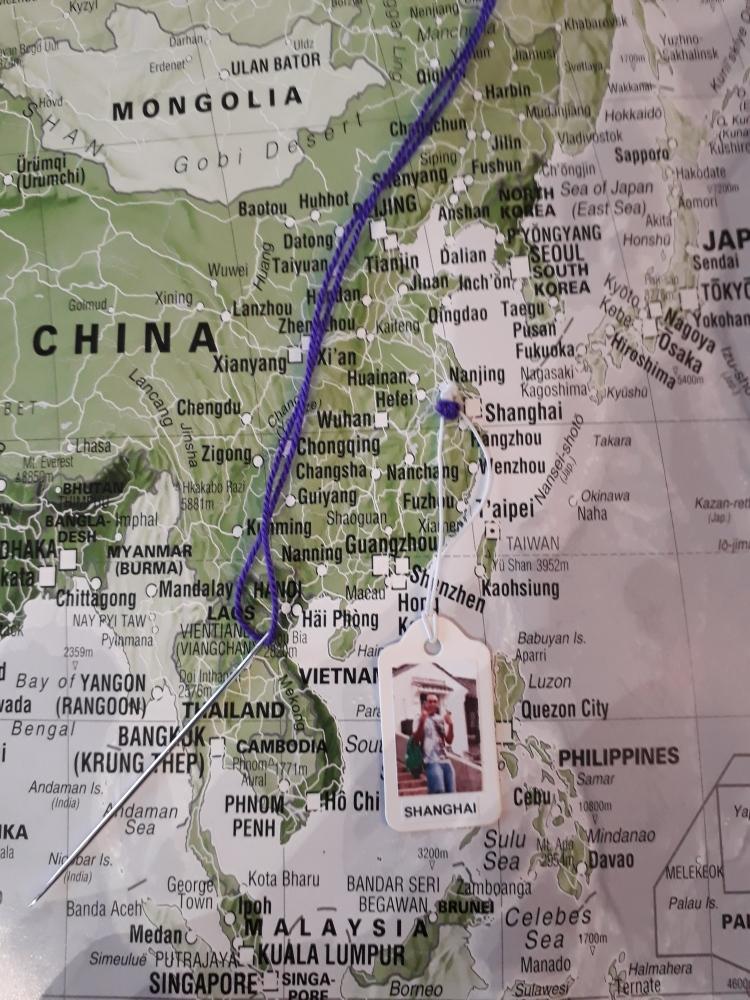 travel map of memories, sewing